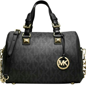 MICHAEL Michael Kors Pvc Coated Signature Satchel in BLACK