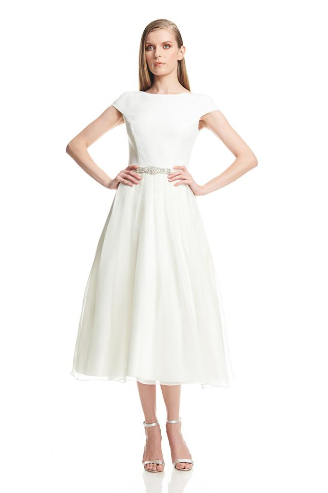 Theia ivory silk organza t length retro wedding dress size for T length wedding dresses