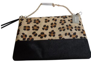 Chico's New 570183500 Gold Chain Black Animal Print Clutch