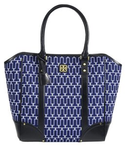 Tory Burch Needlepoint T Logo Print Tote in Blue / White