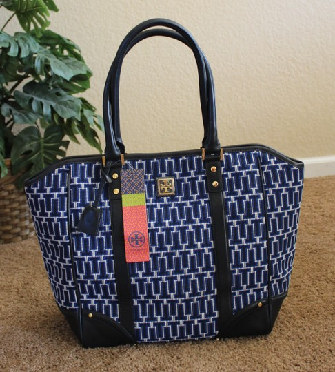 Tory Burch Needlepoint T Logo Print Leather Woven Gold Hardware Large Tote in Blue / White