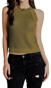 Active Basic Knit Sleeveless Casual Olive Green Halter Top