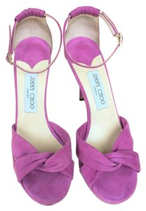 Jimmy Choo Pink Ankle Strap 4 Inch Orchid Platforms