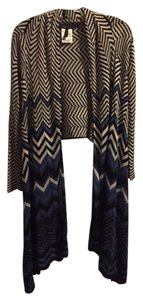 BCBGMAXAZRIA Chevron Open Stripe Blue Black Versatile Cardigan