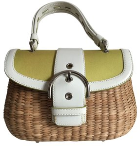 Coach Limited Edition Tote in Natural Straw / Mint Green