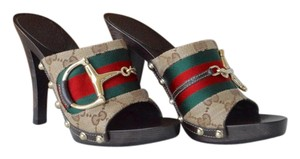 Gucci Canvas Horsebit Monogram Beidge GG red and green stripe Mules