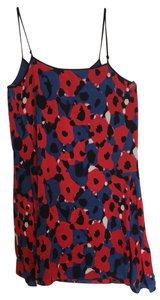 DKNY short dress red/blue multicolor summer silk dress on Tradesy