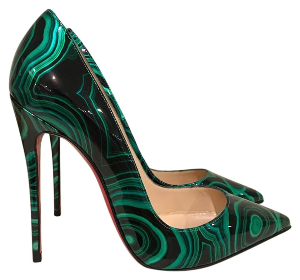 3f58d6578ad6 Christian Louboutin Green So Kate 120 Black Malachite Patent Heel 36 Pumps
