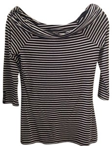 White House | Black Market Strapless Form Fitting Business Stretchy Top Black and White Stripe