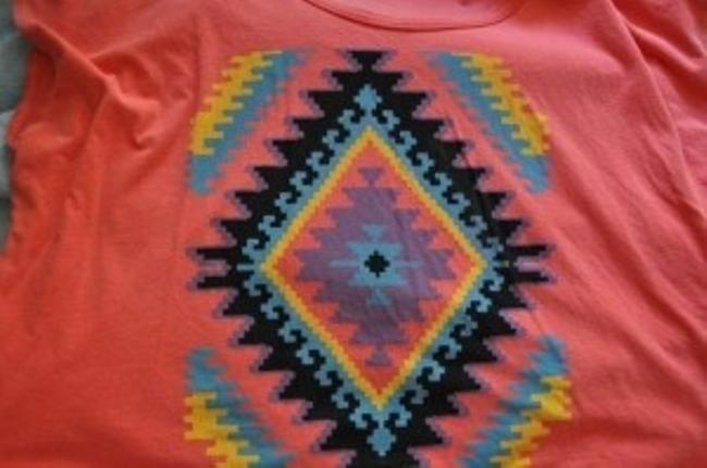 Urban Outfitters Tribal Crop Trendy Summer Lightweight T Shirt Coral Pink