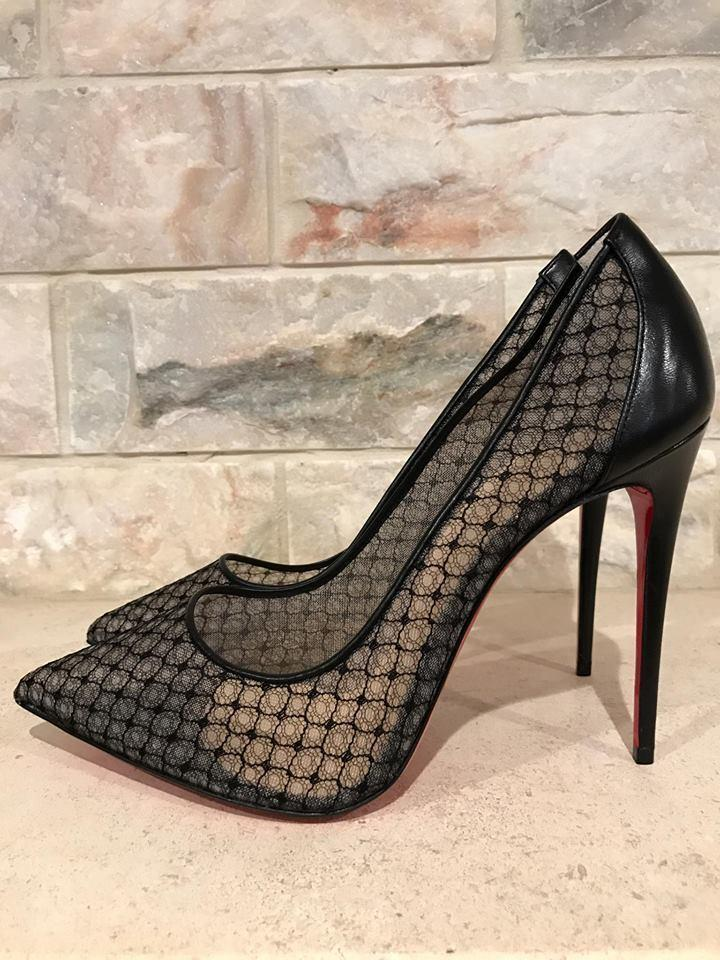 buy online 26965 074e9 Christian Louboutin Black Follies Lace 100 Mesh Leather Heel 38.5 Pumps  Size US 8.5 Regular (M, B)