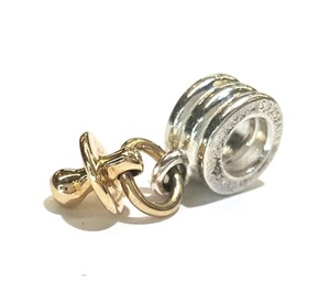 PANDORA PACIFIER CHARM IN YELLOW GOLD & STERLING