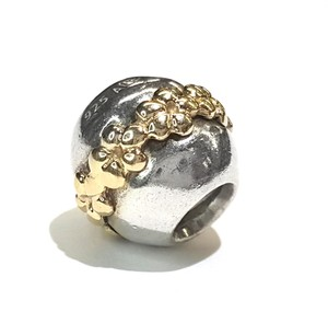 PANDORA SATURN FLOWER CHARM GOLD & STERLING