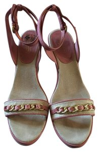 Coach Soft Leather Monogram On Heel Studded Across Foot Pink Sandals