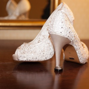 Menbur Ivory Peep Toe Heels Wedding Shoes