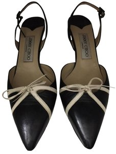 Jimmy Choo Black with cream accent bow Pumps