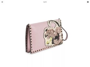 Valentino Rockstud Leather Pink Soft Pink Clutch