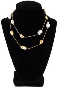 Freshwater Pearl And Textured Gold Beaded Long Necklace