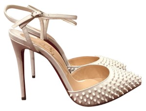 Christian Louboutin Baila Spike Stiletto Ankle Ankle Strap white Pumps
