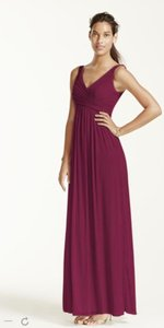 David's Bridal Wine Long Mesh Dress With Cowl Back Detail Dress