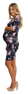 PinkBlush Fitted Navy Floral Maternity Dress