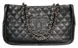Chanel New Silver Hardware Tote in Black
