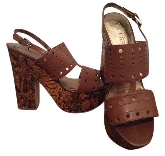 Guess Brown Leather Sandals