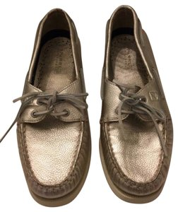 Sperry Metallic Boat Leather Comfortable Gold Flats