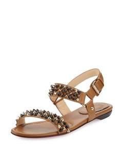 Christian Louboutin Spike Studded Leather Brown Sandals