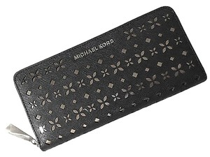 Michael Kors Michael Kors Black Saffiano Leather Perforated Zip Continental Wallet