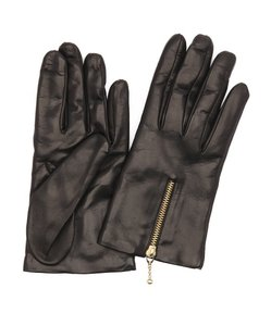 Portolano Black Wool Blend Lined Leather Zip Cuff Gloves