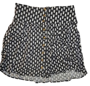 Charlotte Russe High Waisted Tribal Elastic Mini Skirt Black & White