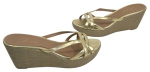 Delman Stitch Gold leather strappy slip on Wedges