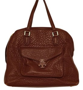 Tory Burch Leather Monogram Satchel in Dark Plum