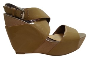 DKNY Ankle Strap Gold Wedges