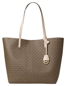 Michael Kors 30f6gh3t6v Mk Logo Canvas Bisque Tote