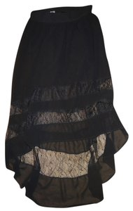Poof! Apparel High-low Hilo Lace Cutouts Skirt Black