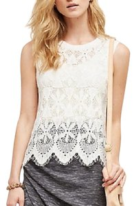 Anthropologie Lace Sheer Top White