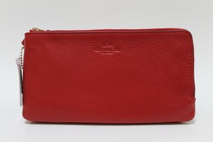 Coach F54056 Gold Hardware Leather Red Wristlet in True Red