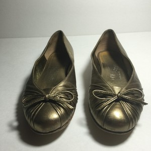 Salvatore Ferragamo Metallic Gold Flats
