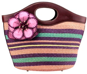 Isabella Fiore Woven Leather Tote in Multicolor