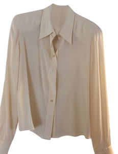 Giorgio Armani Silk Black Lable Vintage Top Winter white