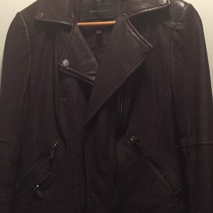 BCBGMAXAZRIA black berry Leather Jacket