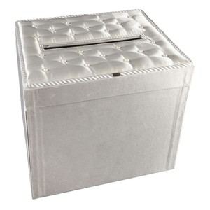 Celebrate It Occasions White Card Box- Satin with Pearl Accents