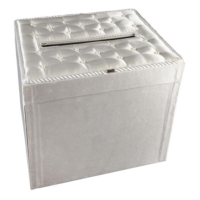 Item - White Card Box- Satin with Pearl Accents