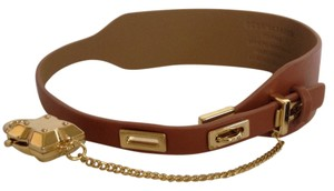 BCBGMAXAZRIA gold toggle and brown vegan leather choker collar necklace