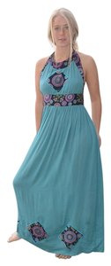 Aqua Maxi Dress by The Treasured Hippie Long Halter Retro
