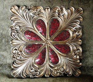 Red Mosaic Crackle Glass Wall Plaque Decor