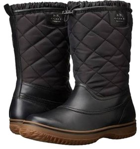 Coach Waterproor Leather Quilted Nylon Rubber Black Boots
