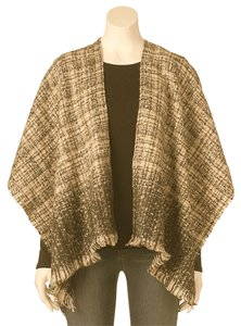 Manhattan Accessories Co. Woven Fringed Ruana Wrap, Tweed Poncho